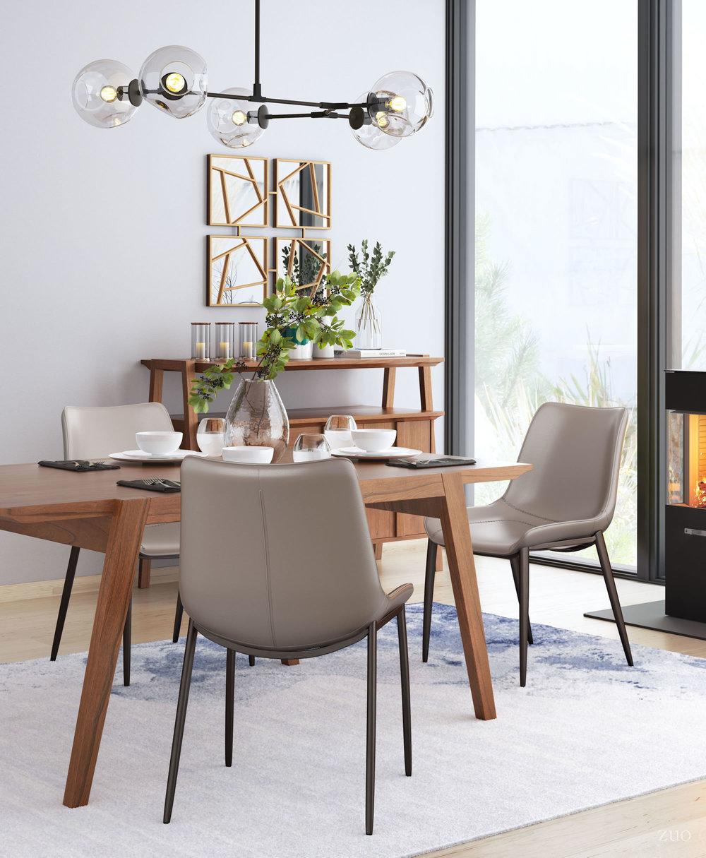 Zuo Modern Contemporary - Magnus Dining Chair - Set of 2 - Gray & Walnut