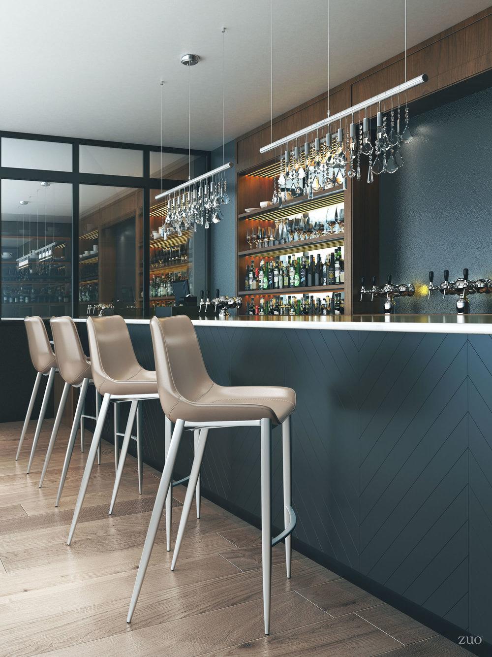 Zuo Modern Contemporary - Magnus Bar Chair, Set/2, Gray & Silver