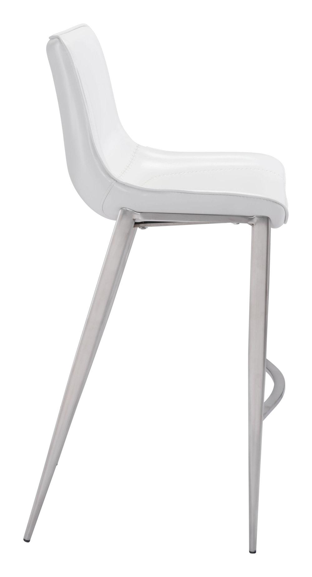 Zuo Modern Contemporary - Magnus Bar Chair, Set/2, White & Silver