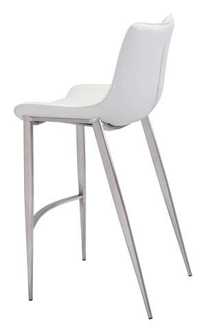 Thumbnail of Zuo Modern Contemporary - Magnus Bar Chair, Set/2, White & Silver