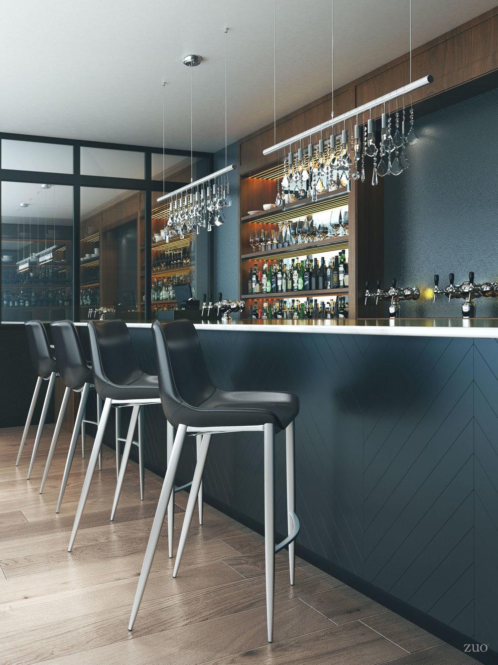 Zuo Modern Contemporary - Magnus Bar Chair, Set/2, Black & Silver