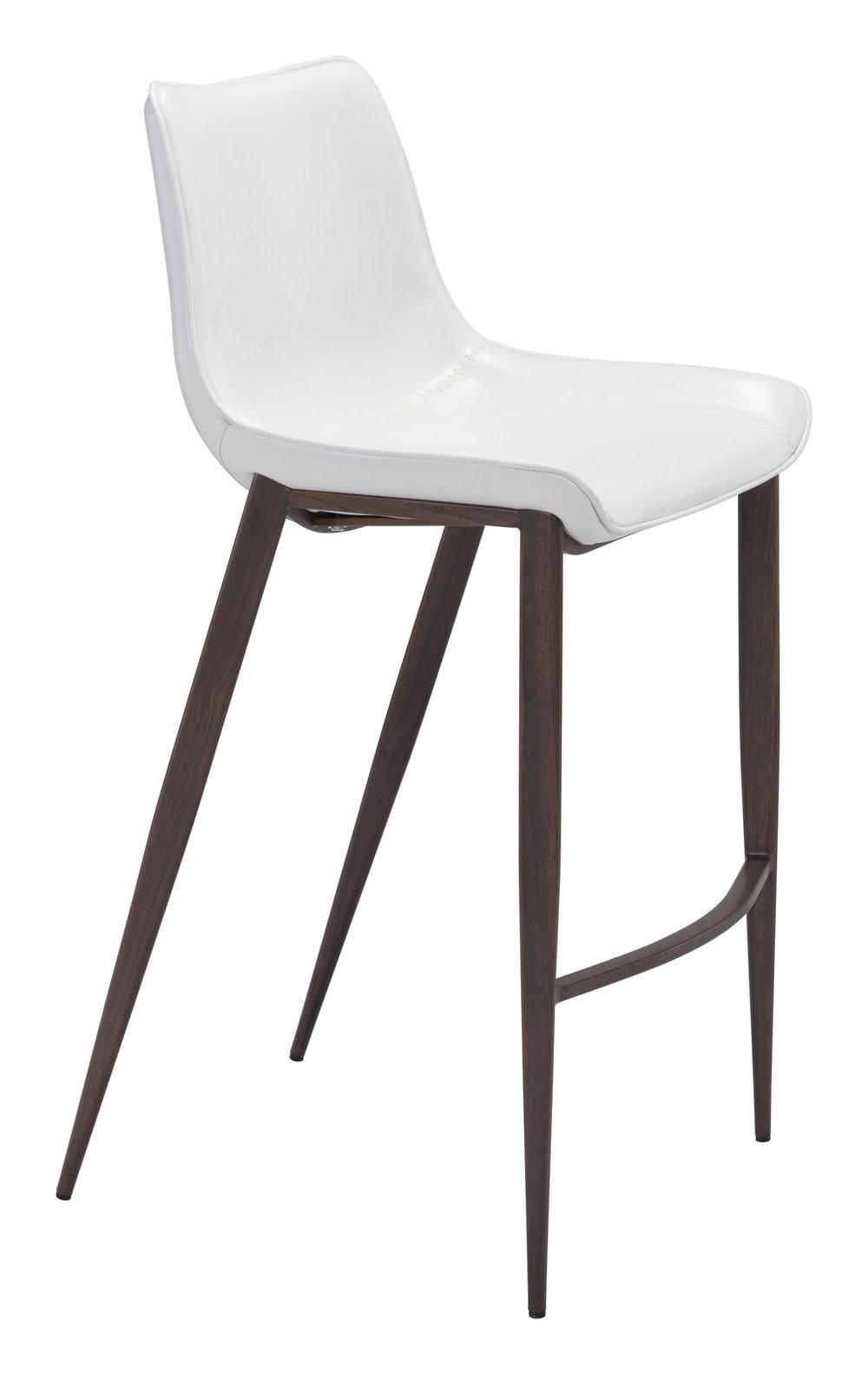 Zuo Modern Contemporary - Magnus Bar Chair, Set/2, White & Walnut