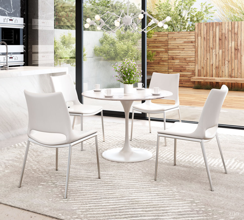 Zuo Modern Contemporary - Ace Dining Chair - Set of 2 - White & Silver