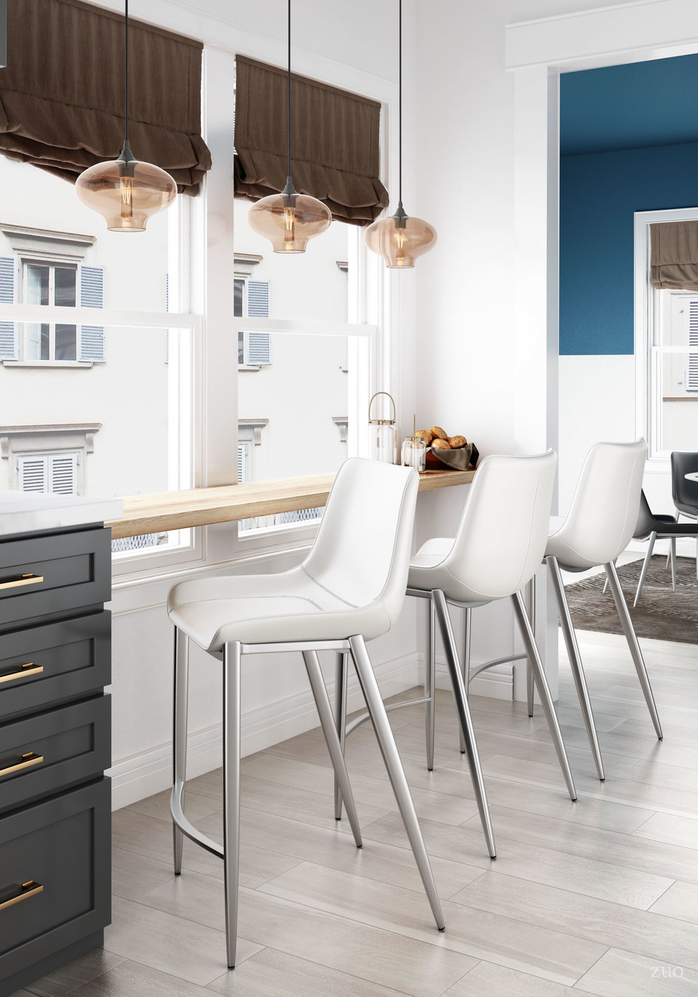 Zuo Modern Contemporary - Magnus Counter Chair, Set/2, White & Silver