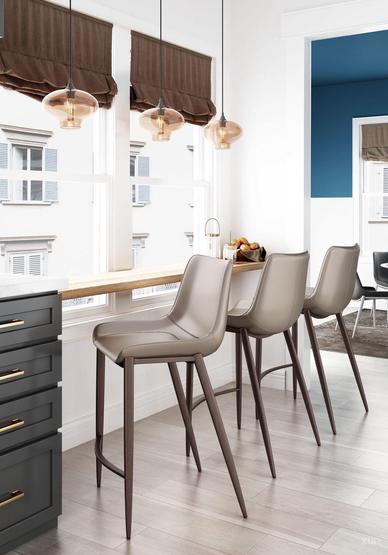 Zuo Modern Contemporary - Magnus Counter Chair, Set/2, Gray & Walnut