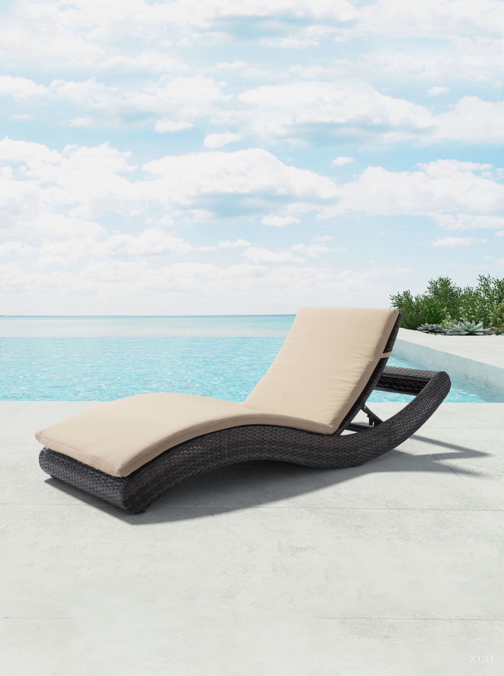 Zuo Modern Contemporary - Pamelon Beach Chaise Lounge Brown & Beige
