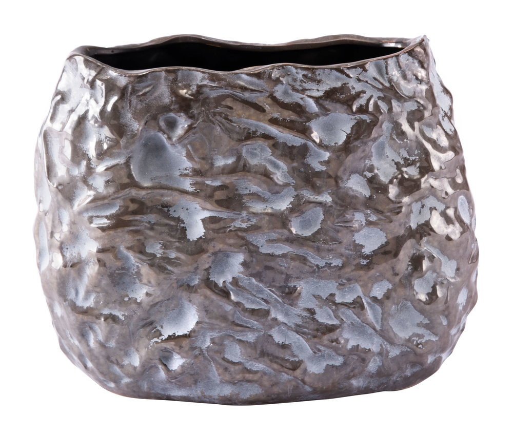 Zuo Modern Contemporary - Medium Stones Vase Metallic Brown & White