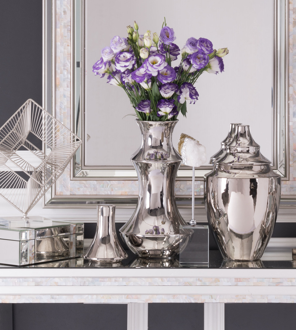 Zuo Modern Contemporary - Medium Pyramid Vase Silver