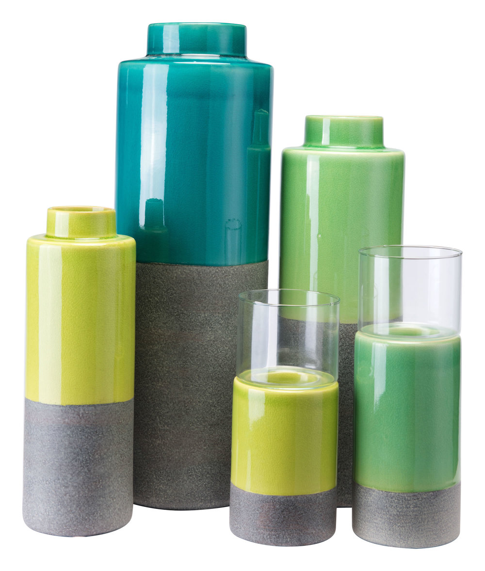 ZUO MODERN CONTEMPORARY, INC - Small Stoneware Candle Holder Green & Gray