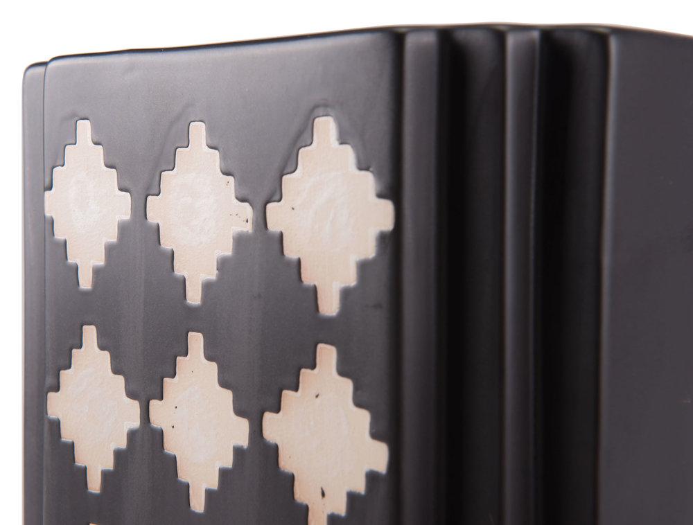 Zuo Modern Contemporary - Large Pampa Rectangular Vase Black & Beige