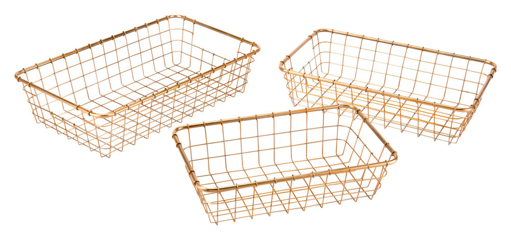 Zuo Modern Contemporary - Set Of 3 Grid Baskets Gold