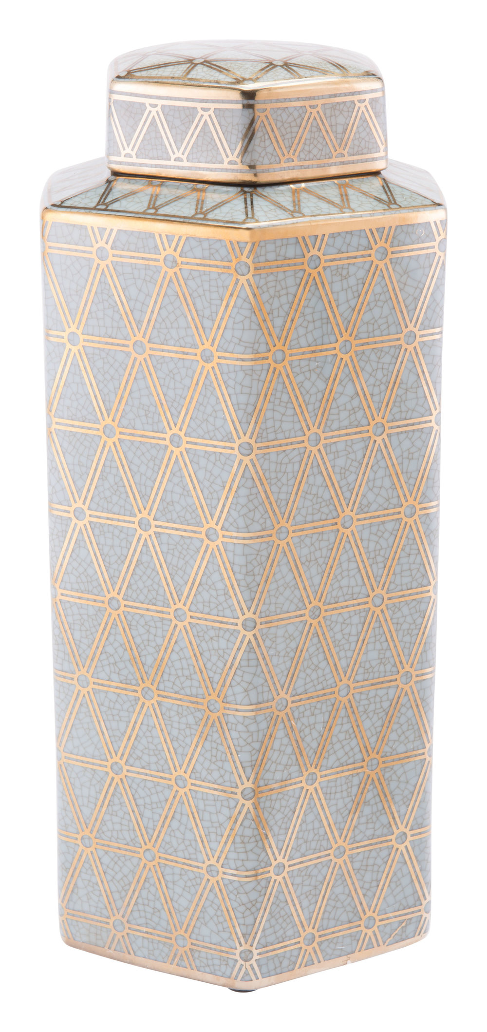 Zuo Modern Contemporary - Large Link Covered Jar Gold And Blue