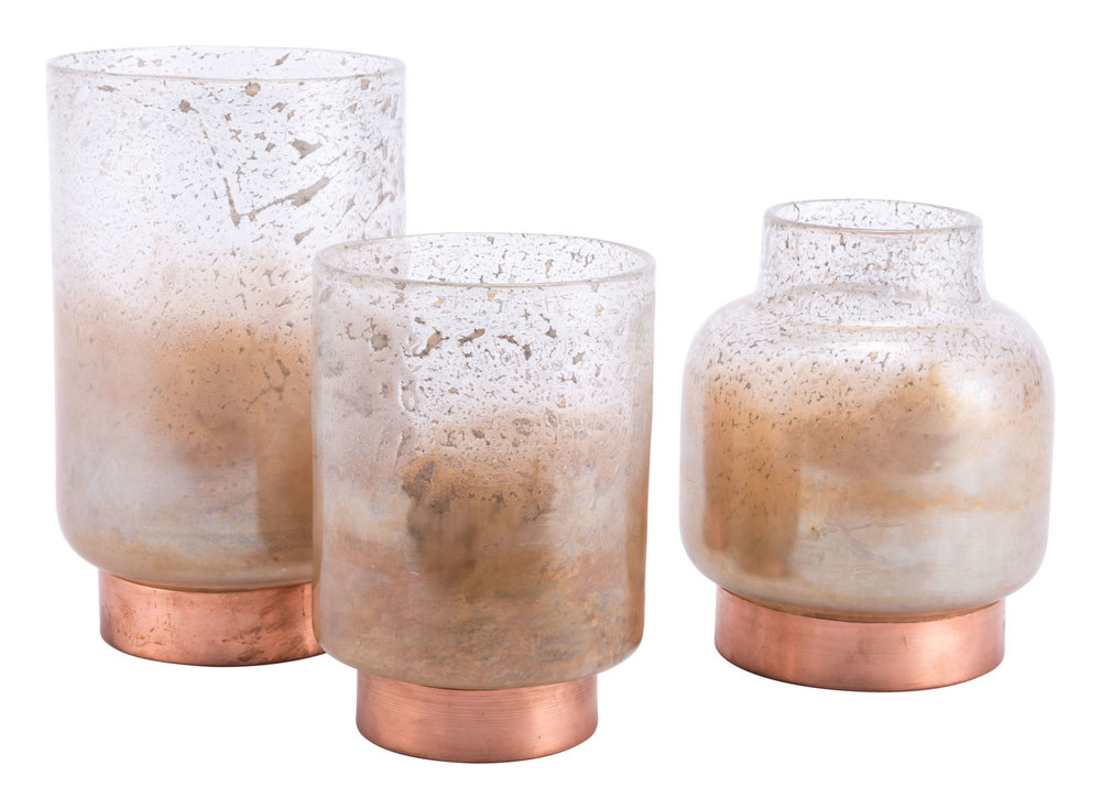 Zuo Modern Contemporary - Large Eliza Vase Translucent & Copper