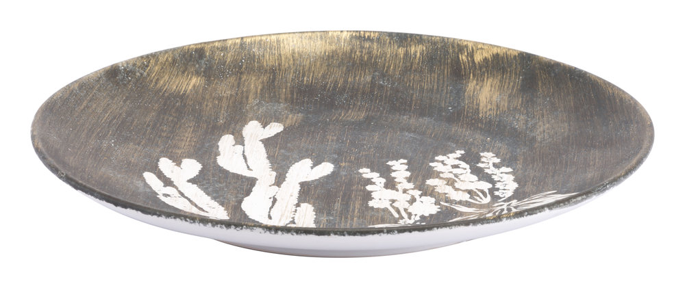 Zuo Modern Contemporary - Large Jaci Plate Antique Gold & White