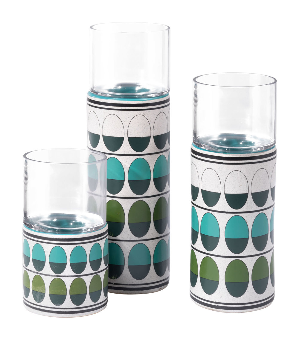 ZUO MODERN CONTEMPORARY, INC - Large Retro Candle Holder Green & Teal