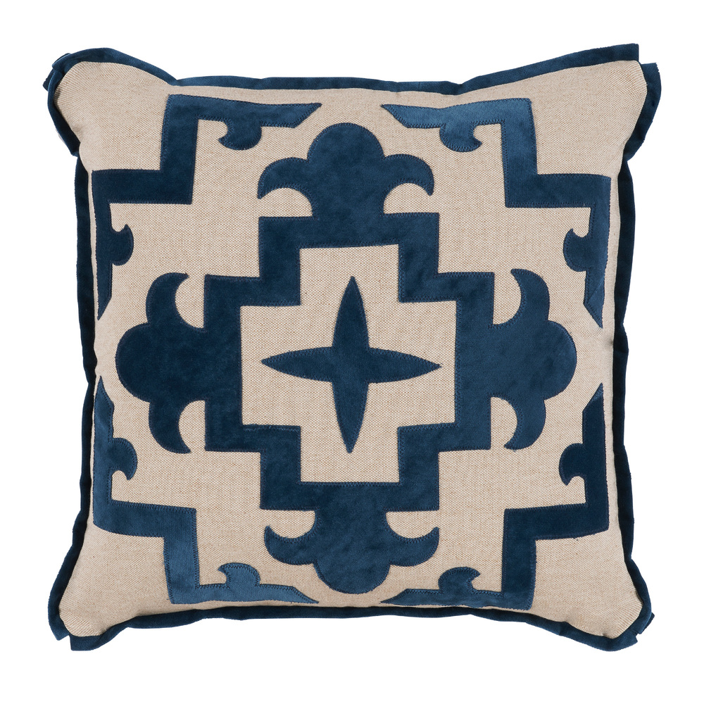 Lacefield Designs - Sultana Applique Denim Velvet Throw Pillow