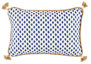 Thumbnail of Lacefield Designs - Tassel Corner Navy Dot Print Lumbar Pillow