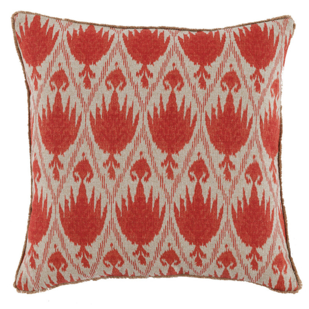 Lacefield Designs - Geranium White Eyelash Trim Pattern Pillow