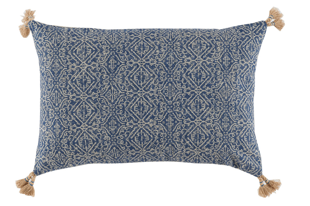 Lacefield Designs - Tassel Corner Indian Blue Printed Lumbar Pillow