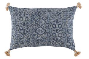 Thumbnail of Lacefield Designs - Tassel Corner Indian Blue Printed Lumbar Pillow