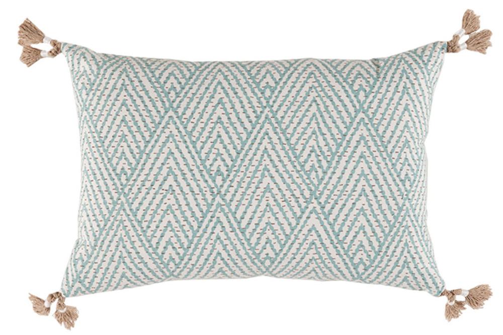 Lacefield Designs - Blue Corner Tassel Chevron Pillow