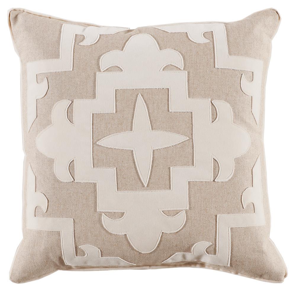 Lacefield Designs - Cream Tan Fleece??Velvet Applique Pillow