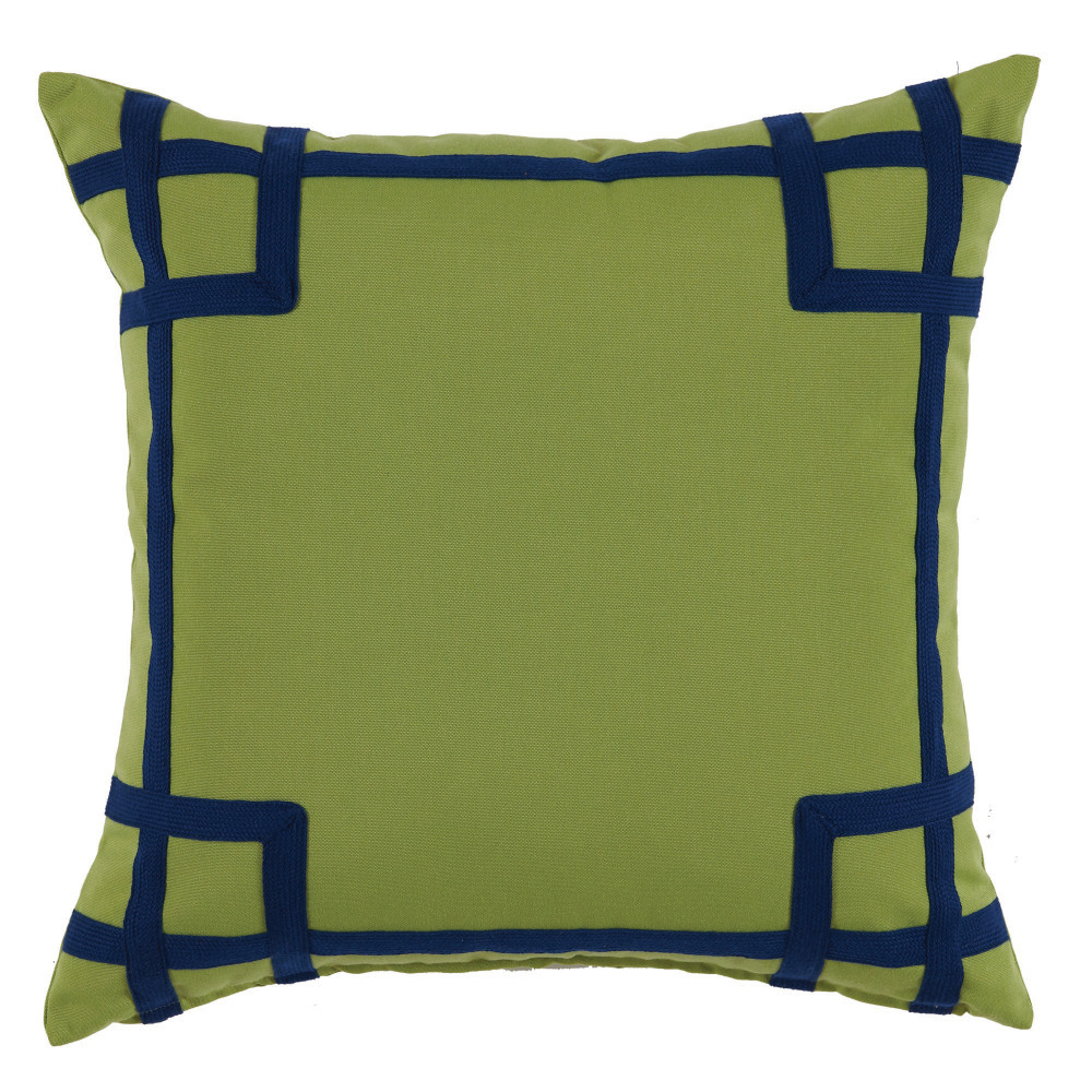 Lacefield Designs - Green Navy Corner Tape Print Outdoor Pillow