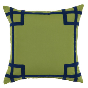 Thumbnail of Lacefield Designs - Green Navy Corner Tape Print Outdoor Pillow