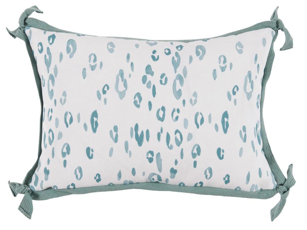 Lacefield Designs - Leopard SeafoamWhiteOutdoor Lumbar Pillow