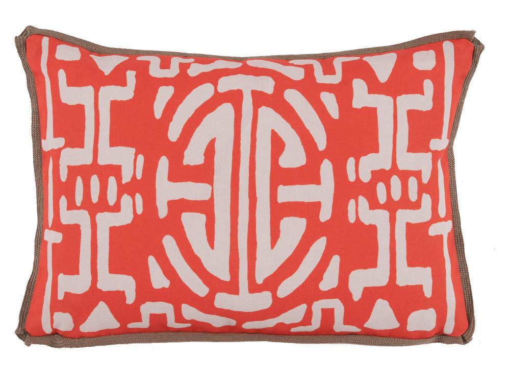 Lacefield Designs - MelonGeometric Print Outdoor Lumbar Pillow