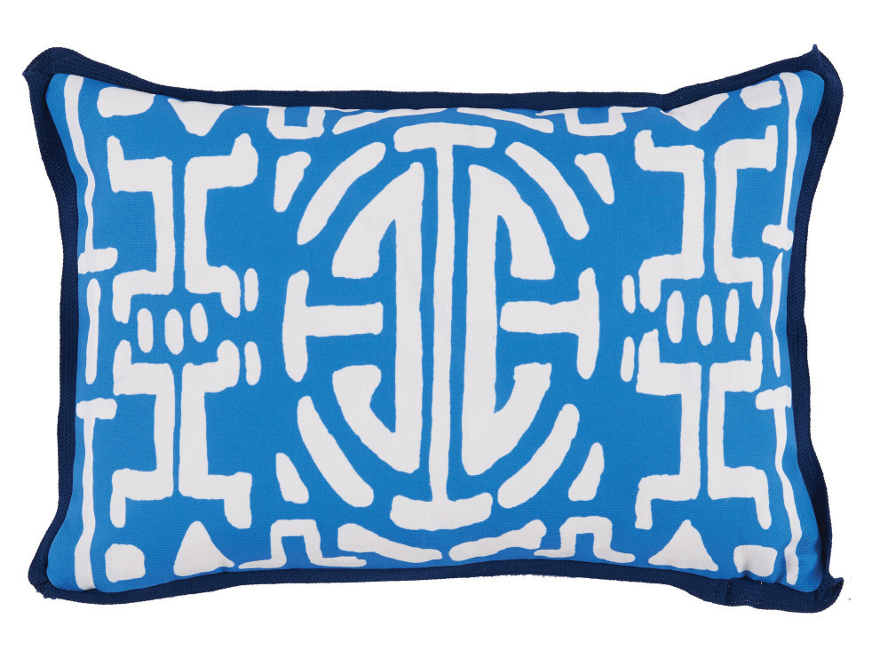 Lacefield Designs - Typhoon Blue Geometric Print Outdoor Lumbar Pillow