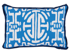 Thumbnail of Lacefield Designs - Typhoon Blue Geometric Print Outdoor Lumbar Pillow
