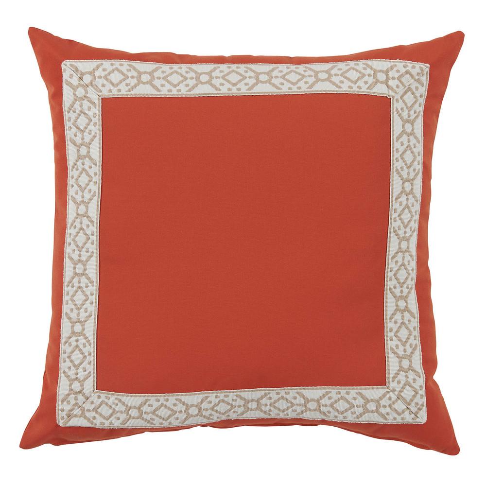 Lacefield Designs - Melon Orange/Camel Print Outdoor Pillow