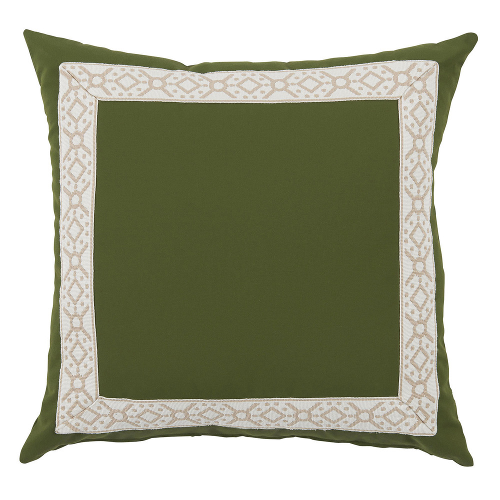Lacefield Designs - Elm Green/Camel Print Tape Border Outdoor Pillow