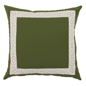 Thumbnail of Lacefield Designs - Elm Green/Camel Print Tape Border Outdoor Pillow