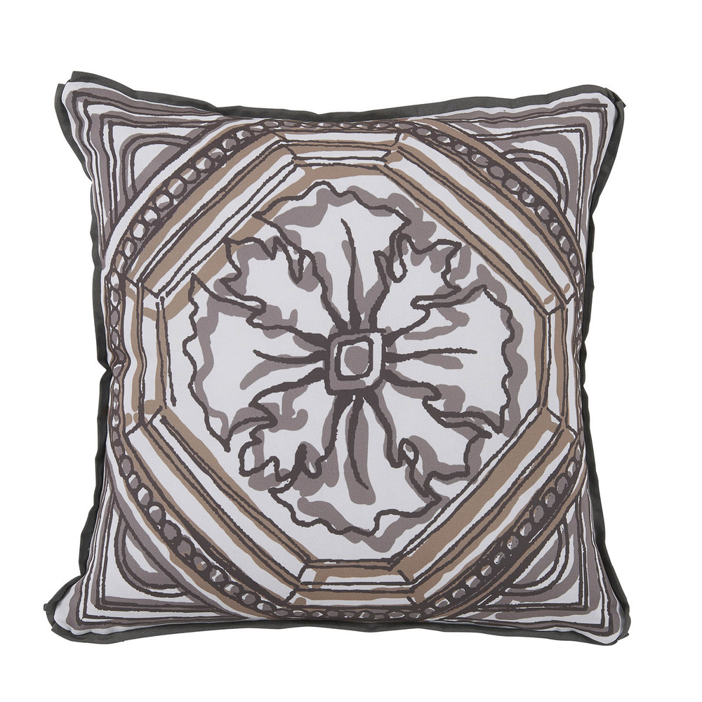 Lacefield Designs - Camel Brown Circle Tile Reversible Outdoor Pillow