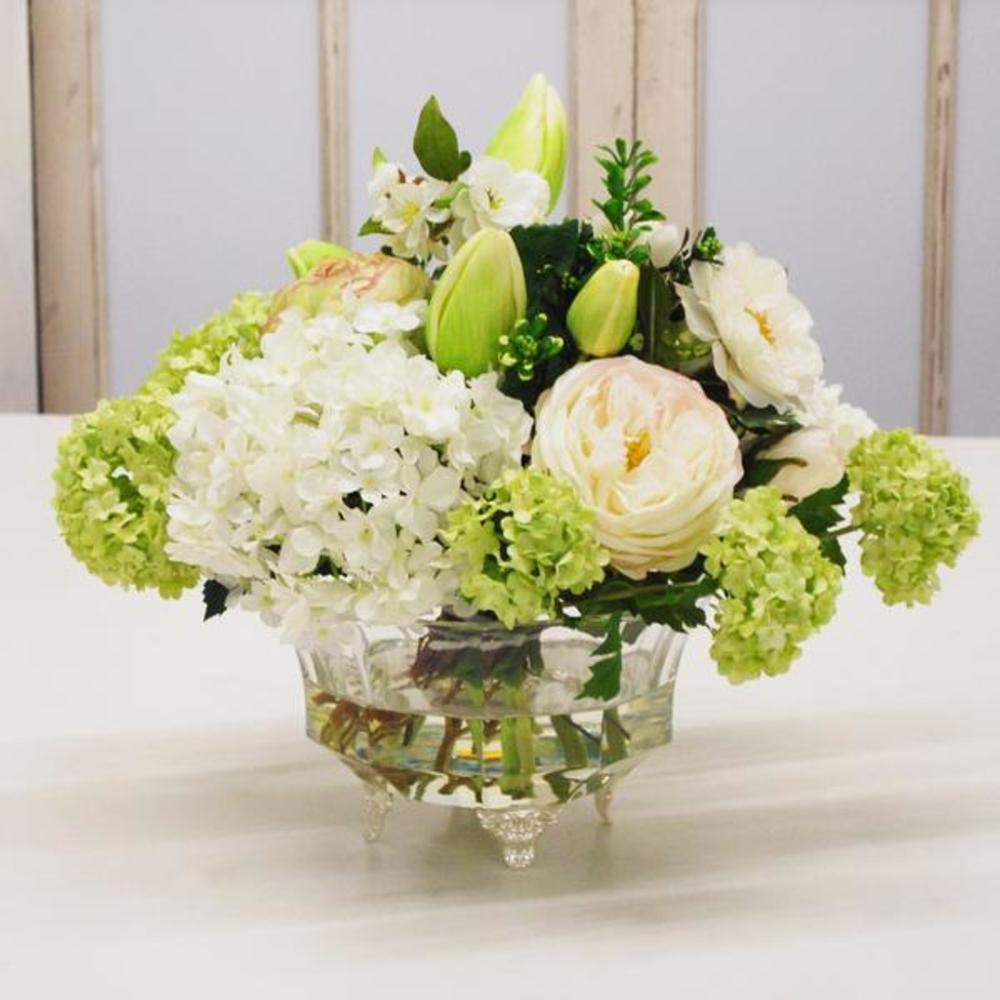Winward - Mix Floral, Crystal Glass Flower (White/Green)