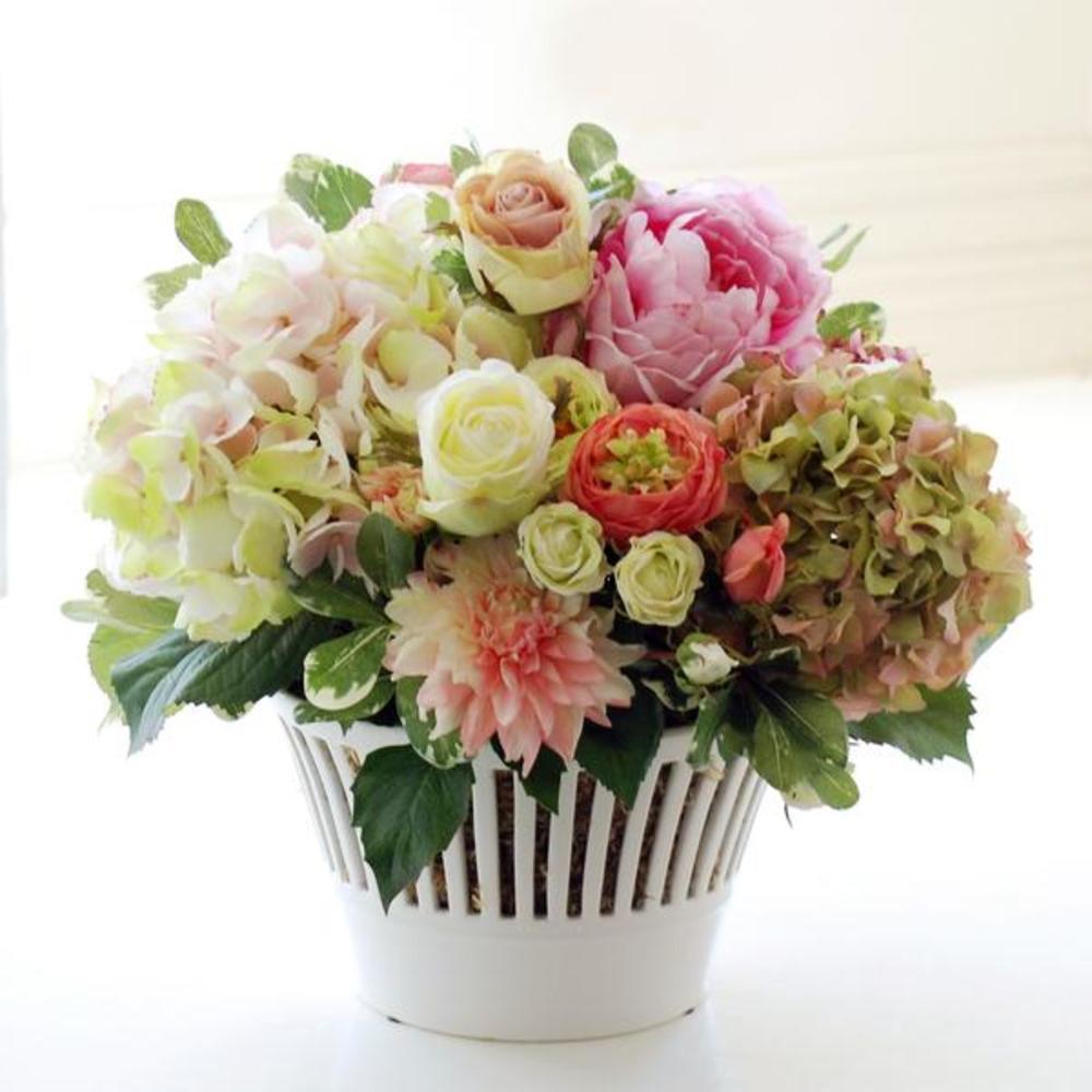 Winward - Hydrangea Vermeil Cache Pot (Pink/Green)