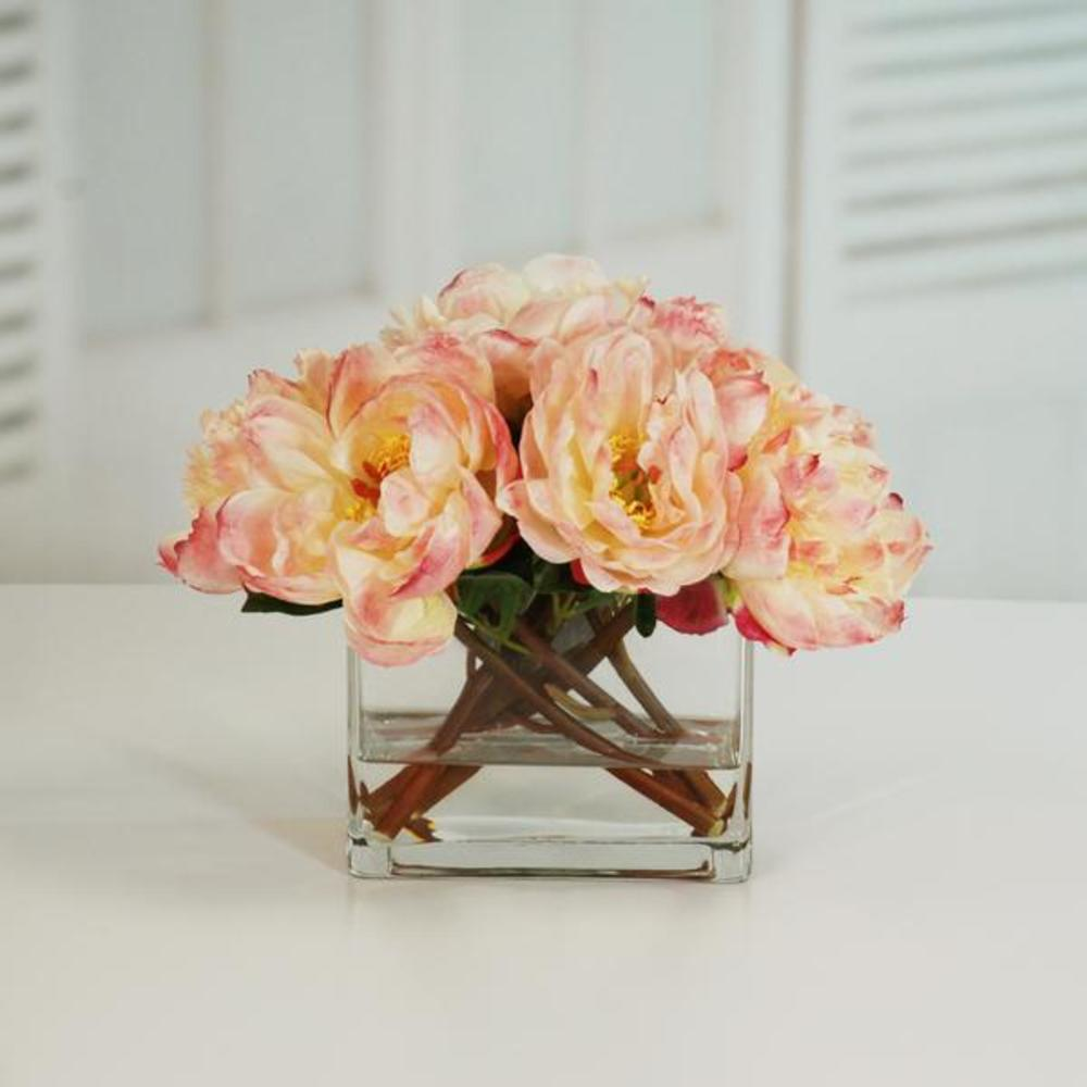 Winward - Peonies, Flaw Glass (Peach)
