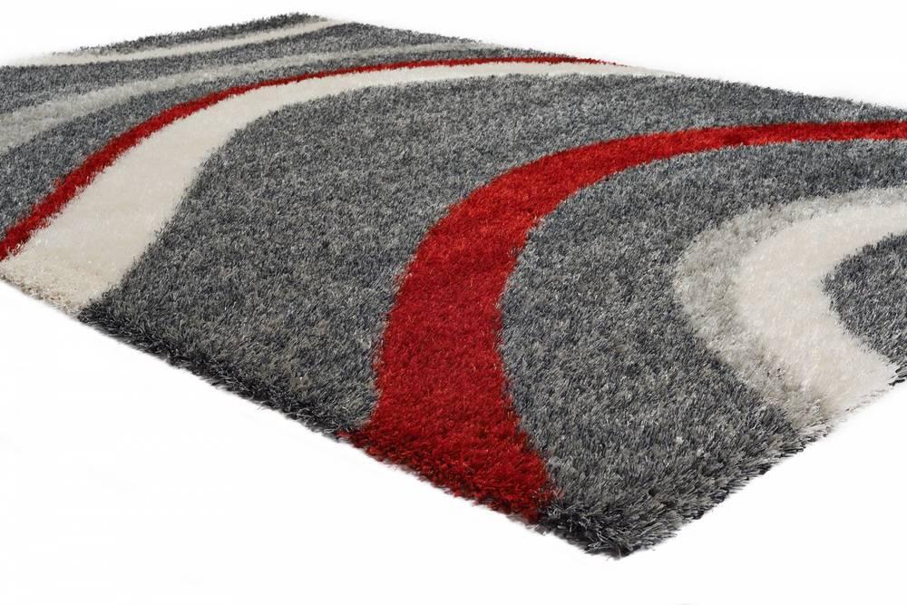 "Citak Rugs - Drift Graphite and Red 5'3"" x 7'7"" Rug"