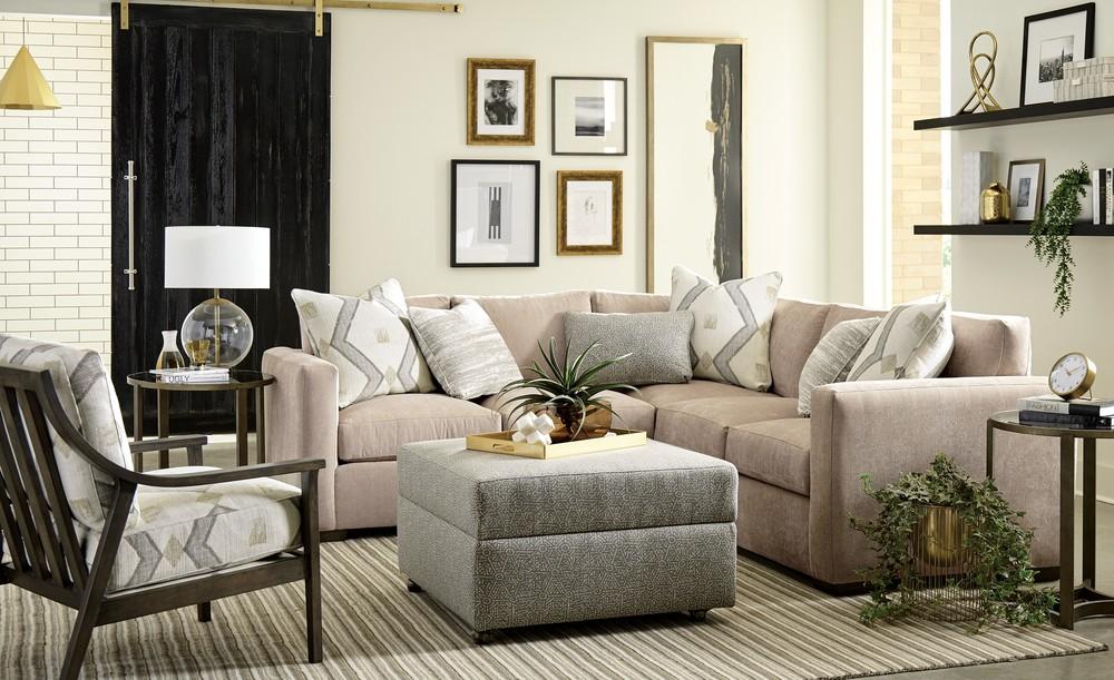 Craftmaster Furniture - Modern LAF Sofa with Return and RAF Loveseat
