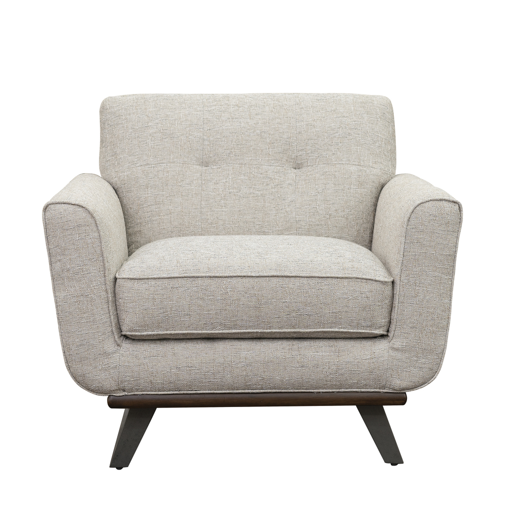 Accentrics Home - Button Tufted Wood and Metal Base Chair