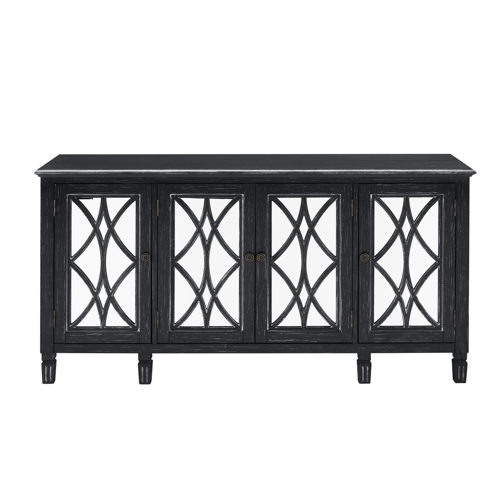 Accentrics Home - Black Four Door Mirrored Console
