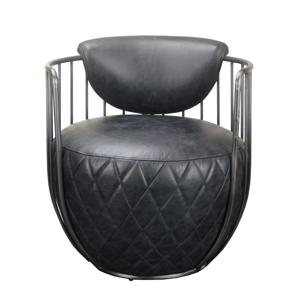 ACCENTRICS BY PULASKI - Iron Spindle Frame Black Leather Chair