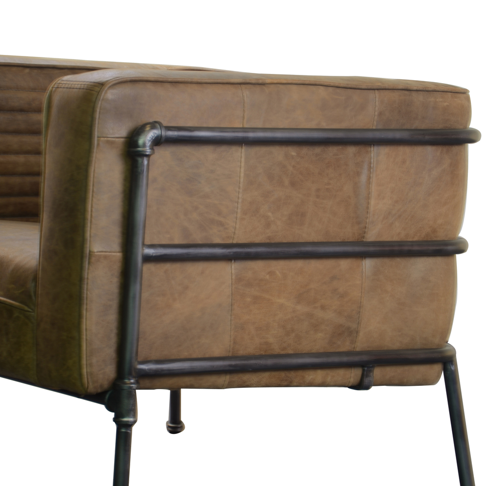 Accentrics Home - Metal Frame Channeled Brown Leather Chair