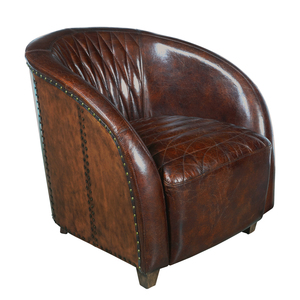 Thumbnail of Accentrics Home - Copper Wrapped Quilted Brown Leather Chair