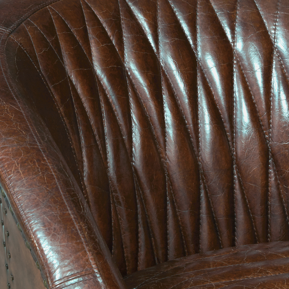 Accentrics Home - Copper Wrapped Quilted Brown Leather Chair
