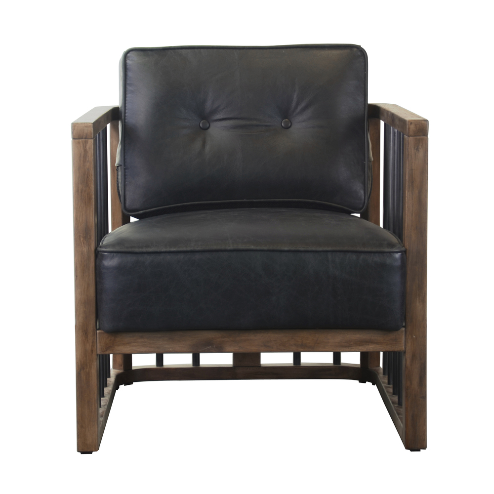 ACCENTRICS BY PULASKI - Black Leather and Wood Spindle Frame Chair