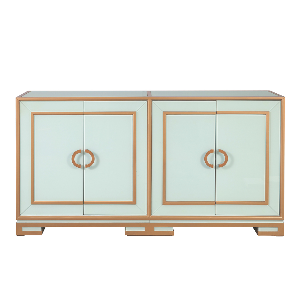 Accentrics Home - Four Door Gold Trim Glass Console