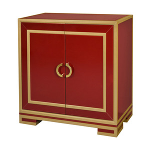 Thumbnail of Accentrics Home - Two Door Wine and Gold Glass Chest
